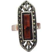 Gorgeous Vintage Art Deco Sterling Silver Ring Marcasite Cognac Quarts
