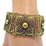 50% Off Hard to Find Vintage Wide Signed Celebrity Golden Lacey Bracelet