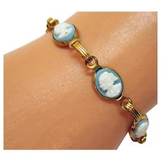 50% Off Vintage Wedgewood Blue Cameo Costume Jewelry Bracelet