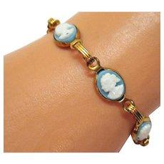 50% Off Vintage Wedgewood Blue Cameo Costume Jewelry Bracelet