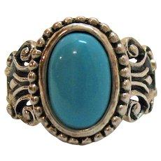 50% Off Rare Vintage Avon of Belleville Sterling Silver Turquoise Glass Ring~Marcel Boucher