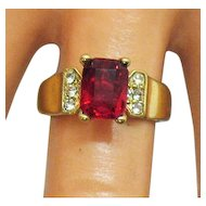Awesome Vintage Ring Simulated Emerald Cut Ruby Diamond Costume Jewelry