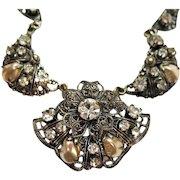 50% OFF Fabulous Vintage Western Germany Necklace Rhinestone Mobe Pearl Filigree