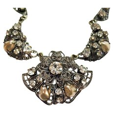 Fabulous Vintage Western Germany Necklace Rhinestone Mobe Pearl Filigree