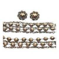 Big Bold Vintage Silver Chain Parure Necklace Bracelet Earrings FREE SHIPPING