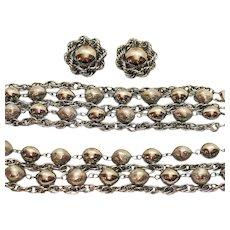 50% Off Big Bold Vintage Silver Chain Parure Necklace Bracelet Earrings