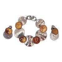 50% OFF Unusual Vintage Faux Elizabeth II Coin Bracelet Earrings Set MINT Free Shipping