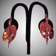Vintage Signed Renoir Classic Copper Painters Pallet Clip Earrings