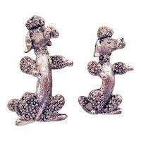 Vintage Signed Gerrys Silver Metal Figural French Poodle Scatter Pins