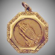 Unusual Vintage Golden Aluminum Eloxal Octagon Signed W. Germany Pray Hands Charm