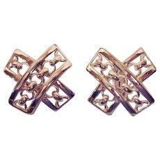Rare Vintage Signed AVON of Belleville Silver Chain Clip Earrings Marcel Boucher Designer
