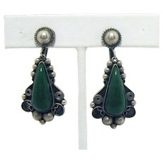 Vintage Sterling Silver Signed MHR Mexico Dangle Green Onyx Earrings