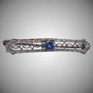 50% OFF Gorgeous Signed Antique 14K Gold Blue Sapphire Petite Pin