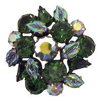 Stunning Vintage Signed Regency Green Rhinestone Art Glass Leave Brooch Free Shipping