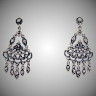 Victorian Revival Vintage Articulated Dangle Rhinestone Chandler Pierced Earrings