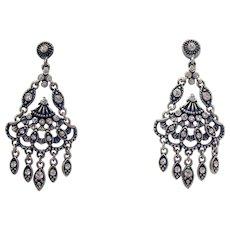 Victorian Revival Vintage Articulated Dangle Rhinestone Chandler Pierced Earrings