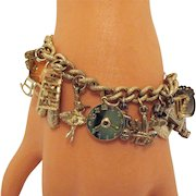 Vintage 17 Charms Golden Charm Bracelet Weighty Well Made