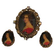 Geogeous Vintage Signed Germany Portrait Brooch Earrings Set