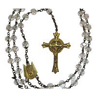 Very Old Vintage Cut Crystal Brass Rosary Free Shipping