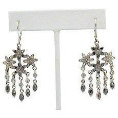 Vintage Silver Marcasite Rhinestone Chandler Dangle Pierced Earrings