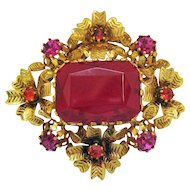 Gorgeous Vintage Signed Austria Red Fuchsia Orange Rhinestone Brooch