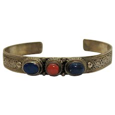50% OFF Gorgeous Vintage Signed Bali Sterling Silver Lapis Coral Scroll Cuff Bracelet Free Shipping