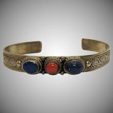 Vintage Signed Bali Sterling Silver Lapis Coral Scroll Cuff Bracelet