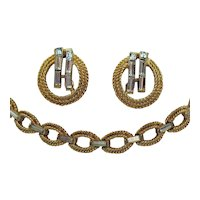 Signed Crown Trifari Vintage Golden Baguette Necklace Earrings Set Free Shipping