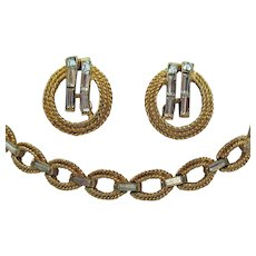Signed Crown Trifari Vintage Golden Baguette Necklace Earrings Set