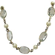 Rare Signed Crown Trifari Vintage Collet Stone Faux Pearl Necklace