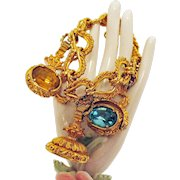 50% Off Signed Hattie Carnegie Vintage Family Seal Charm Bracelet Massive Rhinestones
