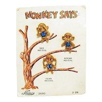 Very Rare Signed Nemo Monkey Says See No Evil Speak No Evil Hear No Evil Clutch Pins Original Card Free Shipping