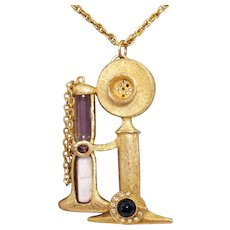 Bold Vintage Signed BJ HMS Figural Candlestick Phone with Faux Egg Timer Necklace