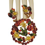 Stunning Vintage Floral Rhinestone Brooch Clip Earrings Set