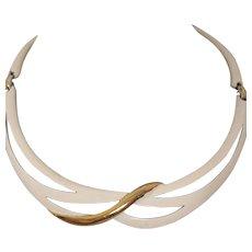 Signed Eisenberg Vintage Enameled Metal Choker Necklace