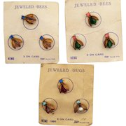 Very Rare Vintage Set of Three Carded Jeweled Bees Bugs by Nemo