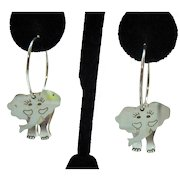 Vintage Signed SU Modernist Sterling Silver Elephant Cut Out Pierced Earings