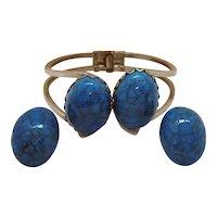 50% OFF Unusual Colorado Cermastone Vintage Clamper Bracelet Clip Earrings Set Original Paperwork