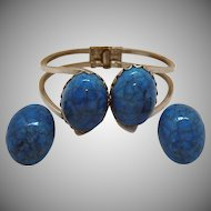 Unusual Colorado Cermastone Vintage Clamper Bracelet Clip Earrings Set Original Paperwork