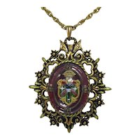 50% Off Unusual Vintage Crest Pendant under Glass Necklace FREE SHIPPING