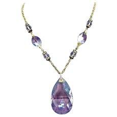 Rare Signed Tortolani Vintage Crystal Faceted Glass Pendant Rhinestone Rondel Necklace