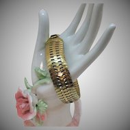 Vintage Wide Snake Skin Bracelet in Soft Yellow Gold Plate