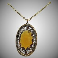 Vintage Art Deco Pendant Necklace Citrine Glass Rhinestone Filigree