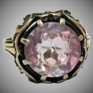 Antique European Lavender Amethyst Gemstone 4 Carat 835 Silver Ring Size 6 1/4