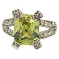 Sensational Vintage Canary Yellow Emerald Cut Cubic Zirconia Rhodium Plated Ring Size 6
