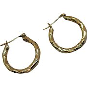Gorgeous 14K Gold Vintage Twisted Pierced Hoop Earrings