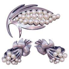 Vintage Signed Crown Trifari Silver Metal White Faux Pearl Brooch Clip Earrings Set
