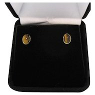 Vintage 14K Gold High End Genuine Scarab Tigers Eye Pierced Earrings