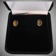 Vintage 14K Gold High End Genuine Scarab Tigers Eye Pierced Earrings