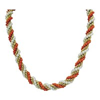 Signed Napier Vintage Faux Pearl Coral Heavy Chain Necklace 12K Gold Filled 25 Inches Long FREE SHIPPING